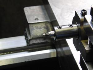 ゴリラホルダーにセンタリング加工のもみつけツールを取りつけた状態